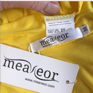Meaneor extra long sunshine yellow cardigan.